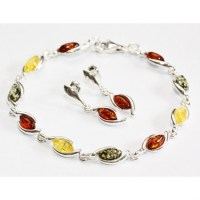 Baltic amber earrings and bracelet set. Sterling silver