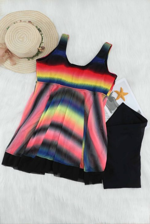 Lucie Womens 2 Piece Swimsuits Tankini Top Set with Boy Shorts Swimdress Multicolor