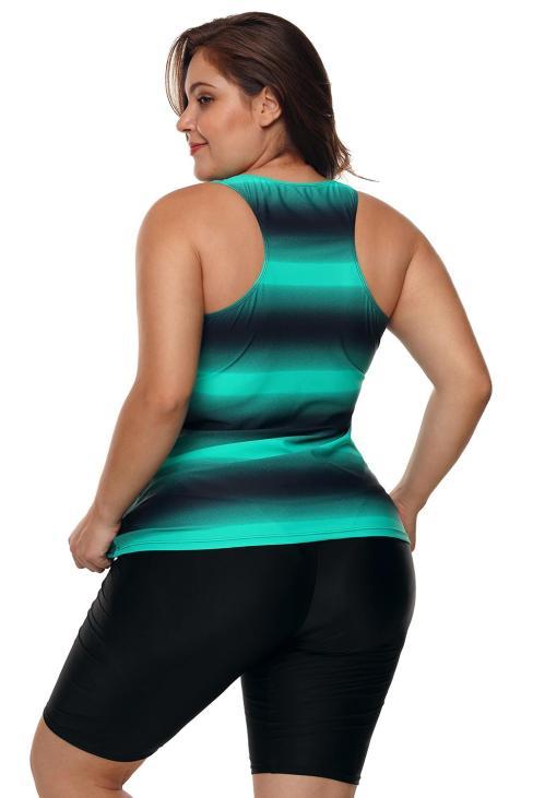 Henley Womens Color Block Print Racerback Plus Size Tankini Swimsuit Blue