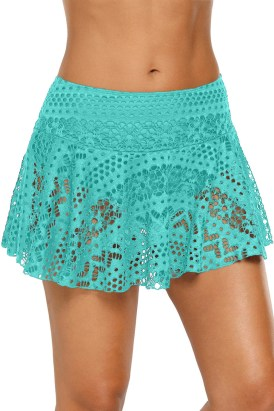 Hockney Women's Lace Crochet Skirted Bikini Bottom Short Skort Swimdress White