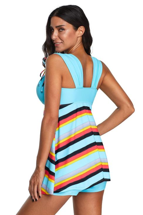 Allaire Women's Striped Swimsuits Tankini Top Set with Boy Shorts Swimdress Sky Blue