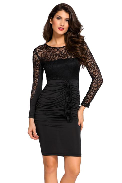 Amber Women's Floral Applique Lace Ruched Bodycon Midi Dress
