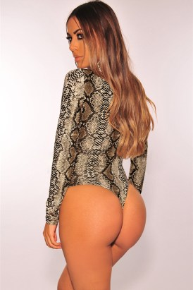 Amelia Women's Snake Print Mock Neck Long Sleeves Pullover Bodysuit