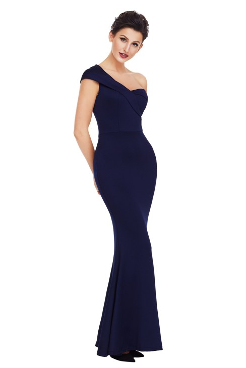 Amity Women's Sexy One Shoulder Evening Gown Party Dress Black