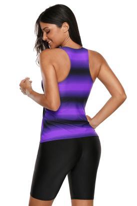 Nigella Womens Color Block Print Racerback Tankini Swimsuit with Long Shorts Blue