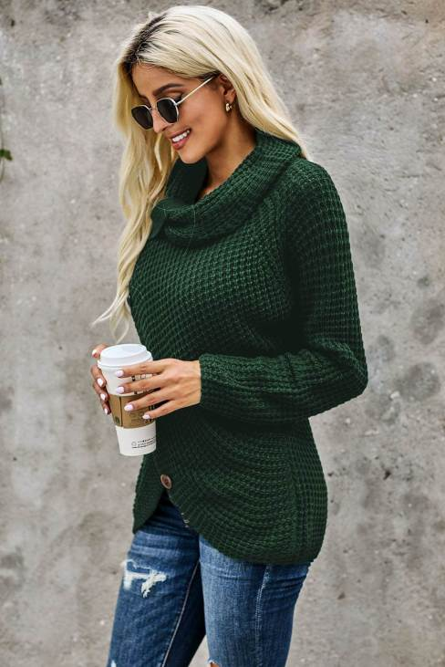Liyah Asymmetric Hem Wrap Pullover Button Knit Sweater Olive Green