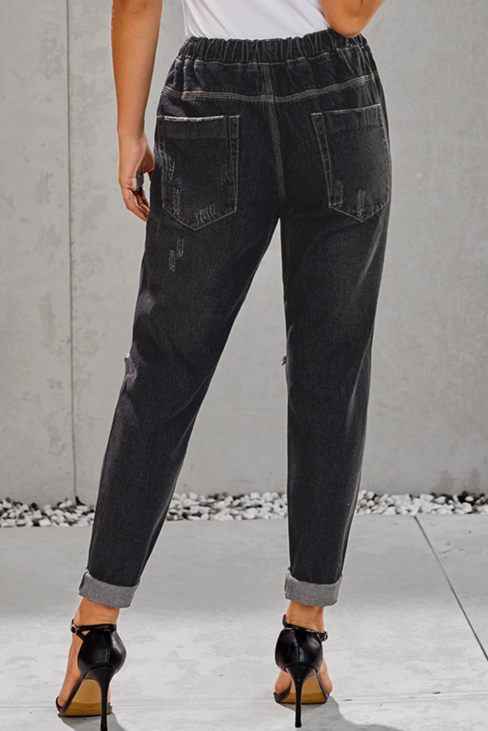Baker Women's Gather Round Distressed Pocketed Denim Jogger Black
