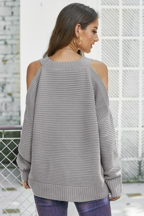 Toni Womens Cold Shoulder Batwing Sleeve Crewneck Casual Knit Pullover Sweater White