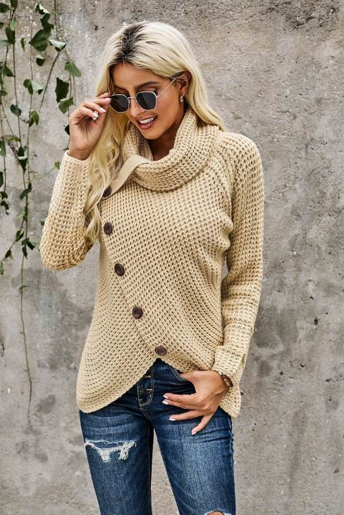 Pilcro Buttoned Wrap Turtleneck Pullover Sweater Tops Beige