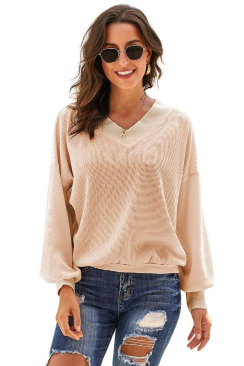 Carmela Women's V Neck Long Sleeve Knit Top Off Shoulder Pullover Sweater White