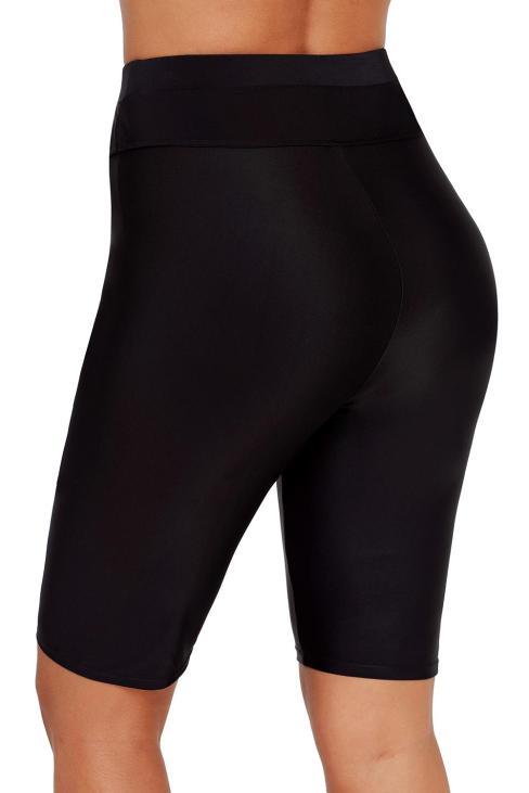 Corey Women's Boardshort Swim Bottom High Waisted Tankini Swimwear Shorts Black