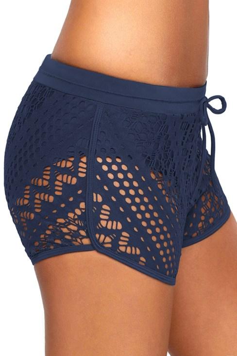 Mesa Womens Hollow Out Lace Side Split Waistband Swim Short Bottom Black