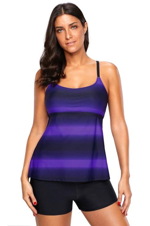 Rochelle Womens Criss Cross Color Block Print Tankini Boyshorts Swimsuit Rosy