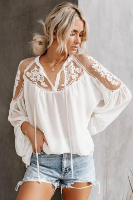 Ingrid Women Sexy V Neck Lace Patchwork Chiffon Blouses White