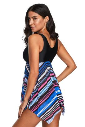 Leona Women V Neck Striped Asymmetrical Hem Tankini Swimsuit Multicolor