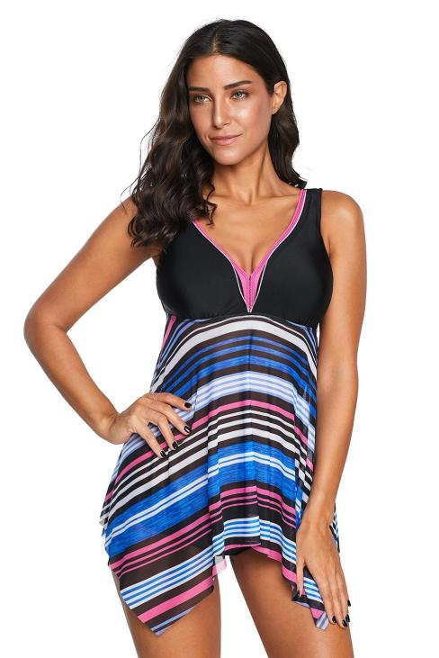 Leona Women V Neck Striped Asymmetrical Hem Tankini Swimsuit Multicolor
