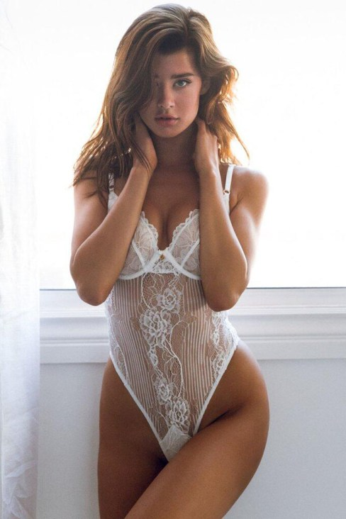 Letty Women One Piece Scalloped Lace Teddy Lingerie White