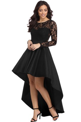 Lottie Women's Long Sleeve Lace High Low Satin Prom Evening Dress Black