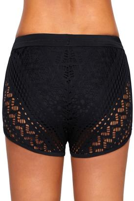 Mesa Womens Hollow Out Lace Side Split Waistband Swim Short Bottom Black