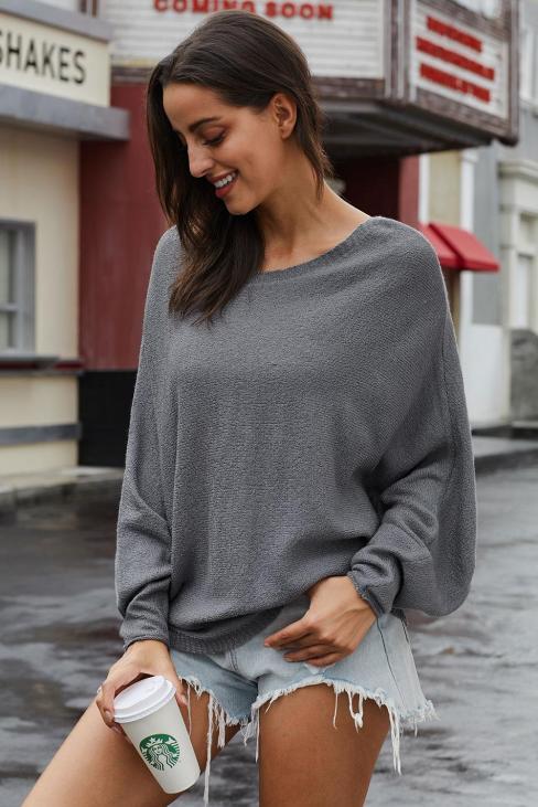Sundry Women's Boat Neck Long Sleeves Oversized Dolman Knit Sweater Black