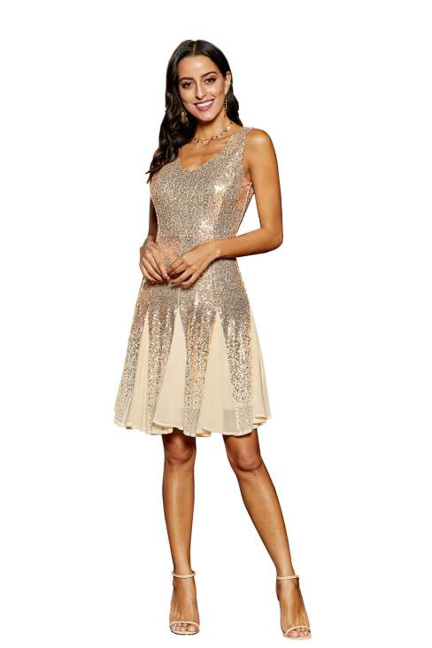 Morena Women's V Neck Sleeveless Sequin Chiffon Mini Dress White