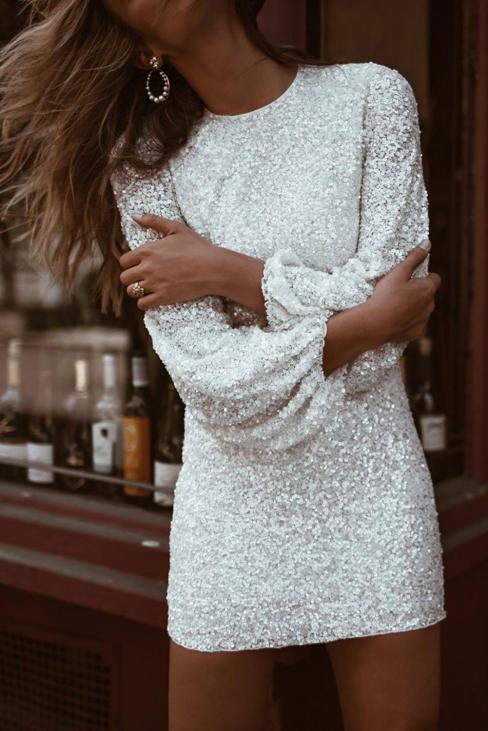 Parsons Women's  Puffy Sleeve Sequin Party Bodycon Mini Dress White