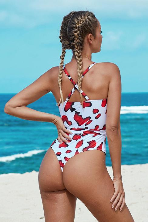 Pilcro Women's Scoop Neck Shoulder Straps High Cut One-piece Swimsuit with Sash Red