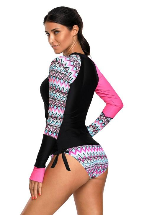 Nikita Women's Contrast Long Sleeve Rash Guard Tankini Swimsuit Dark Blue