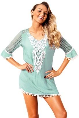 Grayson Women's Crochet Chiffon Tassel Beach Tunic Cover up White