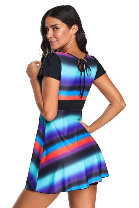 Simona Women's Round neck Short Sleeve Striped Swimdress Tankini Swimsuit
