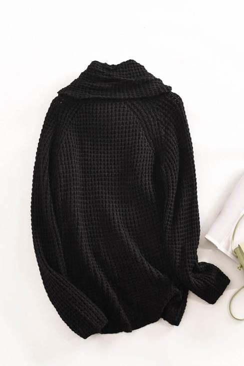 Stellar Turtleneck Buttoned Wrap Sweater Black