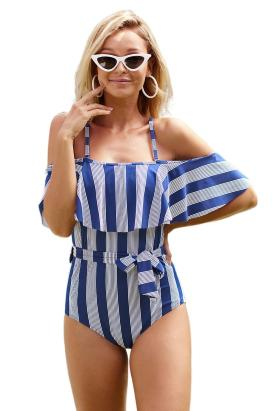 Varley Women's Straps Striped Ruffled One-piece Swimsuit Blue