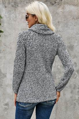 Miranda Womens Casual Turtle Cowl Neck Sweater Coat Heather Gray
