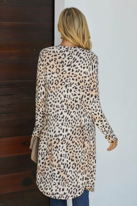 Gillian Women's Long Sleeves Leopard Print Knitting Cardigan Outwear