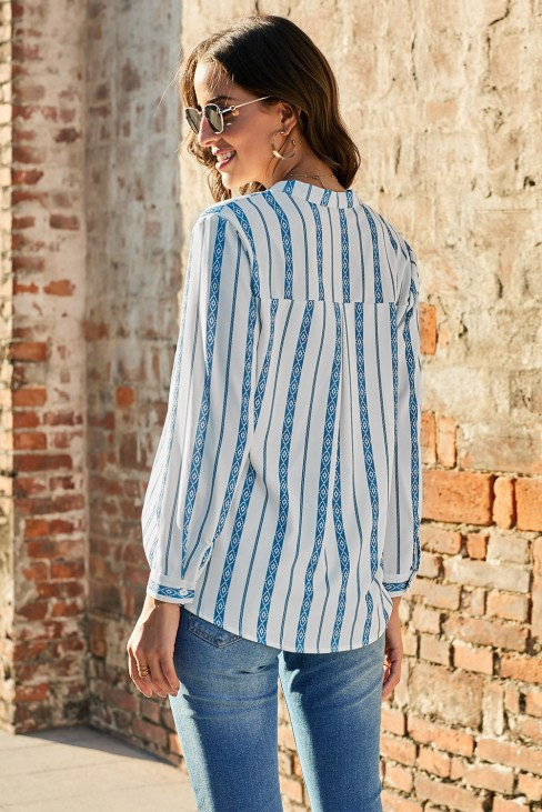 Isadora Women's V Neck Roll up Sleeve Button Down Blouses Tops Sky Blue