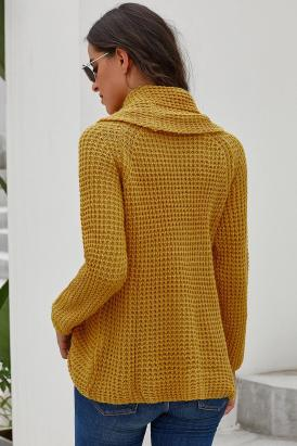 Breanna Chunky Button Turtle Cowl Neck Pullover Sweater Mustard