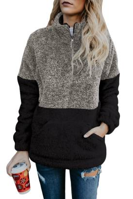 Edie Womens Zipper Pullover Hoodies Sweatshirt Outwear with Pockets Gray Taupe