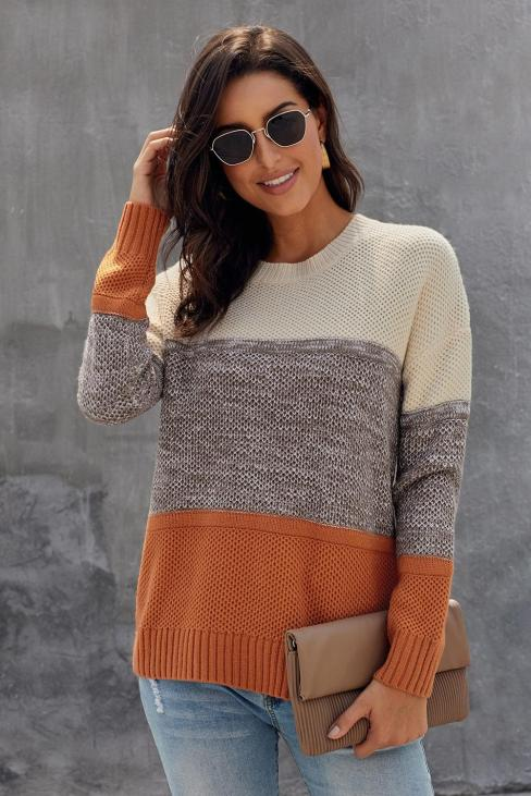 Addie Women's Color Block Netted Texture Pullover Sweater Black