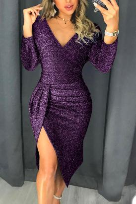 Joah Glitter Ruched Thigh Slit Party Metallic Dress Purple