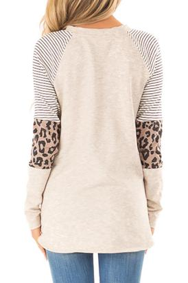 Sidonie Women's Striped and Leopard Color Block Tops Black