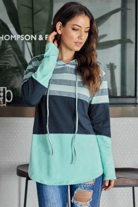 Orinda Striped Color Block Drawstring Hoodie Green