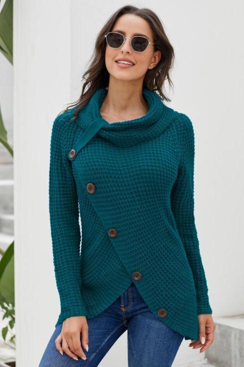 Sarsi Women's  Asymmetric Hem Wrap Pullover Sweater Slate Blue