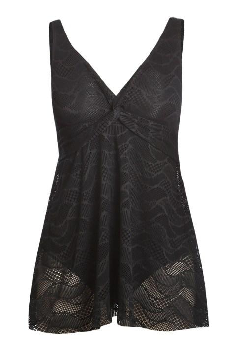 Aleksa Women's Sexy V Neck Straps Sleeveless Ruched Twist Tankini Swimwear Set Black