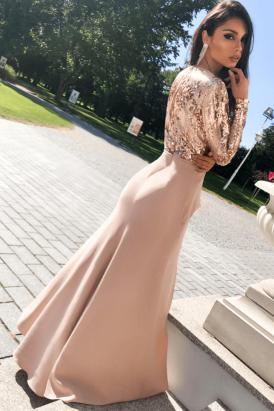 Bias Long Sleeve V Neck Wrapped Sequin High Waist Maxi Dress Black