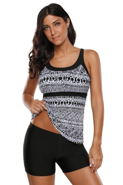 Capra Women Geometry Print Two Pieces Tankini Swimsuits Monochrome