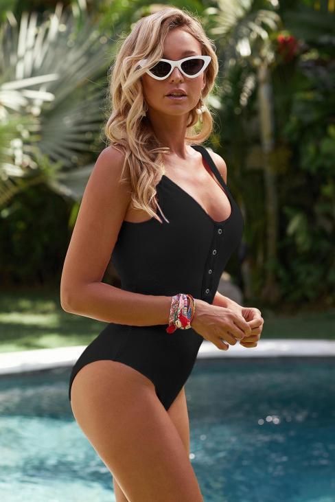 Cecilia Women's Scoop Neck Front Buttoned One Piece Swimsuit Black