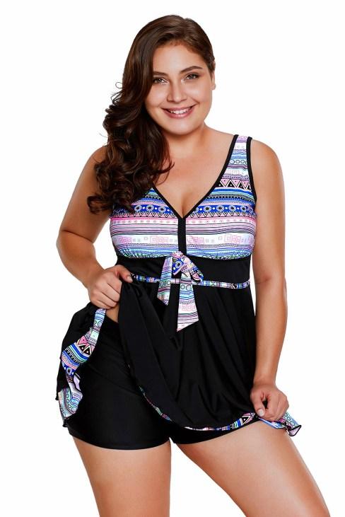 Dylan Women's Plus Size Two Pieces Tankini Swimdress Tribal Print Swimwear
