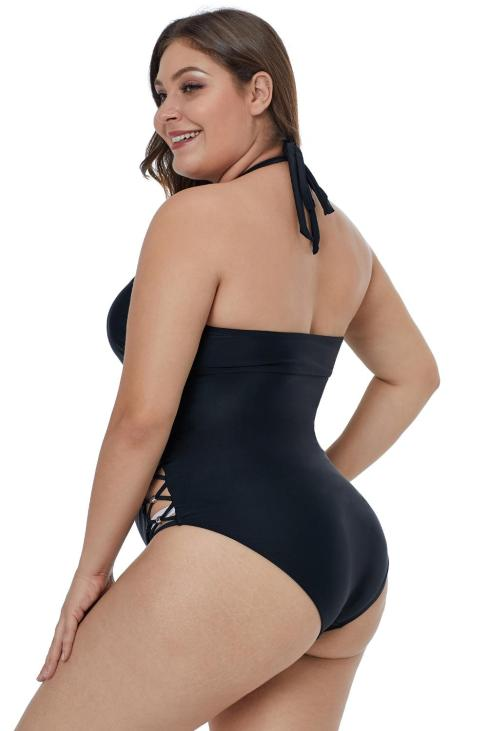 Ginny Strappy Front Open Back Crisscross Hollow-out Side Plus Size Swimsuit Black