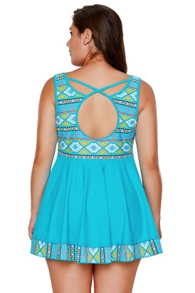 Dylan Women's Plus Size Two Pieces Tankini Swimdress Tribal Print Swimwear