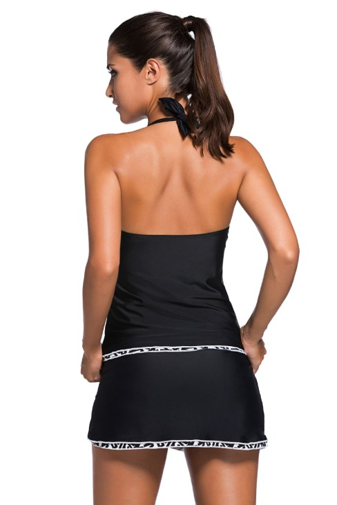 Calvert Women's Black Halter Tankini Top and Skort Bottom Set Bathing Suits White Trim